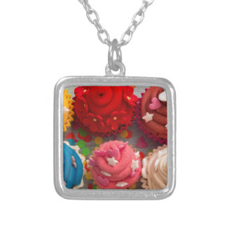 colorful cupcakes silver plated necklace