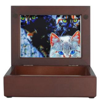 Colorful Curious Cats Keepsake Box