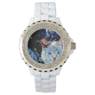 Colorful Curious Cats Rhinestone Watch