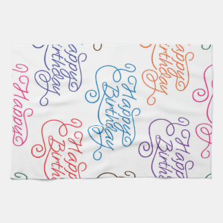 Colorful Cursive Happy Birthday Pattern Tea Towel
