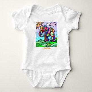 Colorful custom name artistic elephant painting baby bodysuit