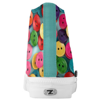 Colorful Custom Zipz High Top Shoes with button Printed Shoes