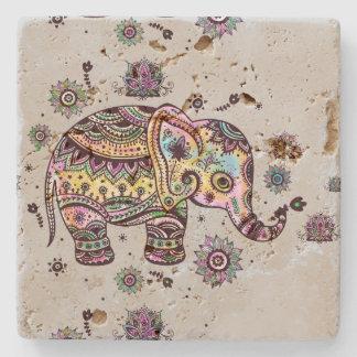 Colorful Cute Baby Elephant Illustrations Stone Coaster