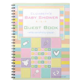 Colorful Cute Baby Shower Guest Book- Notebook