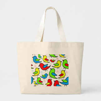 Colorful cute birds pattern large tote bag