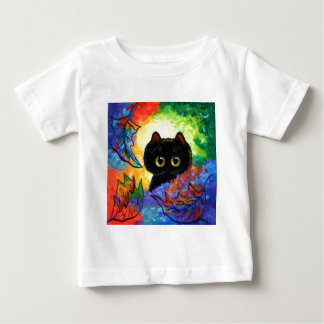 Colorful Cute Black Cat Fall Leaves Creationarts Baby T-Shirt