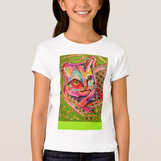 Colorful Cute Cat on Girls' T-Shirt