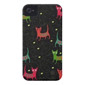 Colorful Cute Cats & Fish Bone Pattern Blackberry iPhone 4 Case-Mate Case