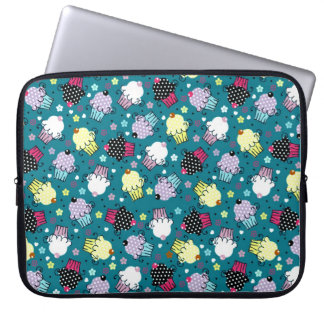 Colorful Cute Cupcake Pattern-Turquoise-Green Back Laptop Sleeve