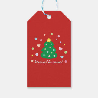 Colorful Cute Festive Merry Christmas Tree Gift Tags