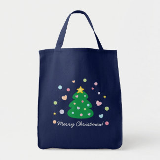 Colorful Cute Festive Merry Christmas Tree Tote Bag
