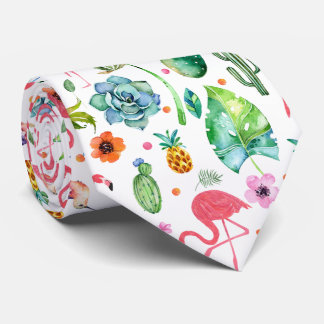 Colorful Cute Flamingos & Tropical Flowers & Leafs Tie