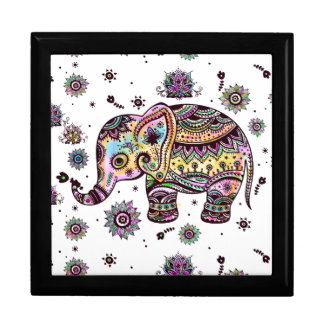 Colorful Cute Floral Elephant Illustration Large Square Gift Box