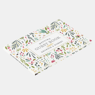 Colorful Cute Flowers & Leafs Pattern Guest Book