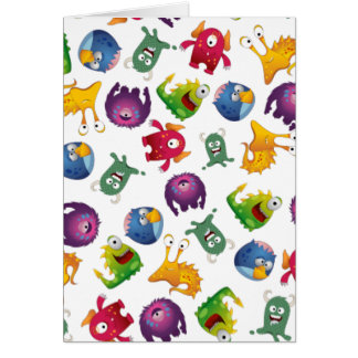 Colorful Cute Monsters Fun Cartoon Greeting Card