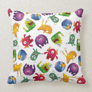 Colorful Cute Monsters Fun Cartoon Throw Pillows