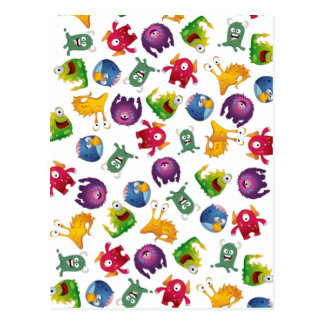 Colorful Cute Monsters Fun Cartoon Postcard
