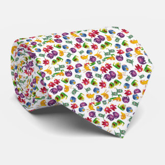 Colorful Cute Monsters Fun Cartoon Tie