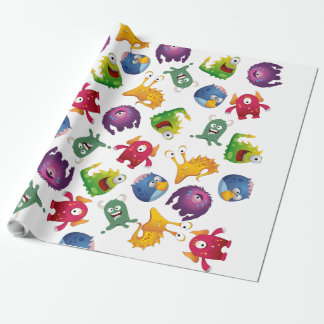 Colorful Cute Monsters Fun Cartoon Wrapping Paper