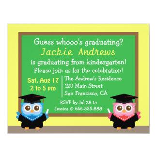 Colorful, Cute Owl Graduation, for Kids 11 Cm X 14 Cm Invitation Card