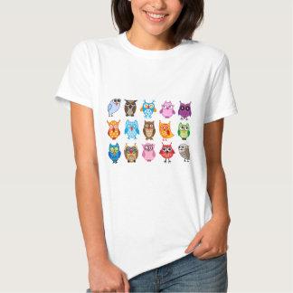 Colorful cute owls tshirt