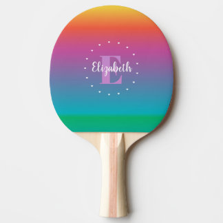 Colorful Cute Rainbow Ombre Gradient Monogram Ping Pong Paddle