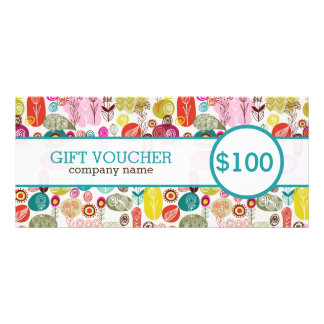 Colorful Cute Retro Flowers Gift Voucher Rack Card