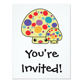 Colorful Cute Spotted Kawaii Mushroom Toadstools 11 Cm X 14 Cm Invitation Card