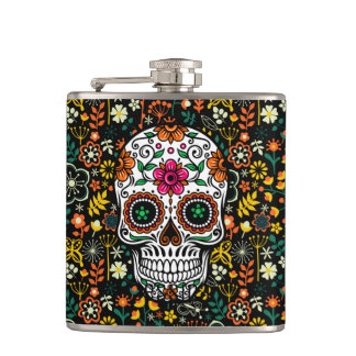 Colorful Cute Sugar Skul And Retro Flowers Hip Flask