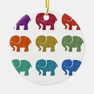 Colorful cute trendy girly elephants ceramic ornament