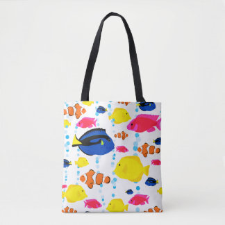 Colorful Cute Whimsical Tropical Fish and Bubbles Tote Bag
