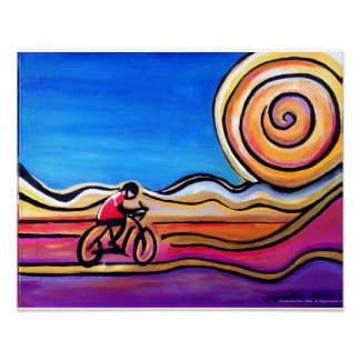 Colorful Cyclist - Acrylic Painting (20 x 16) Poster
