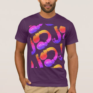 colorful d.j. headphones purple T-Shirt