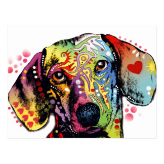 colorful Dachshund art Postcard