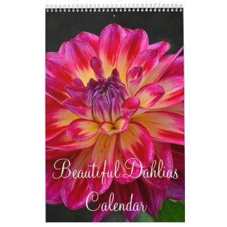 Colorful dahlia flowers calendar