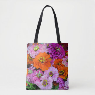 Colorful dahlia flowers tote bag