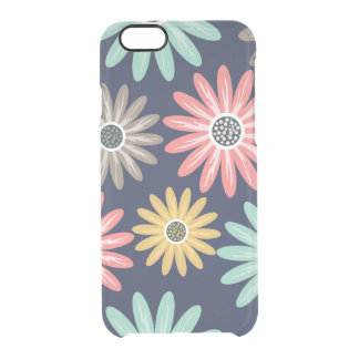 Colorful Daisies on Navy Blue Pattern Clear iPhone 6/6S Case