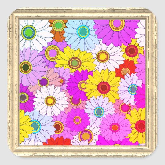 Colorful Daisies Pattern Square Sticker
