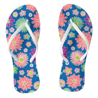 Colorful Daisy Flowers Thongs