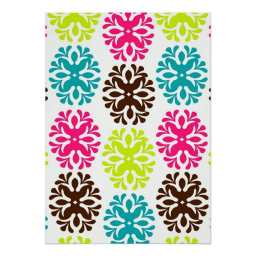 Colorful damask floral cute neon flower pattern print