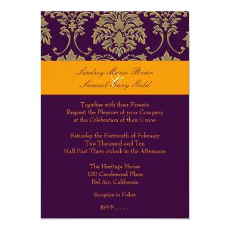 Colorful Damask/plum/orange/lavender Card