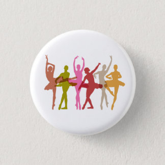 Colorful Dancing Ballerinas 3 Cm Round Badge