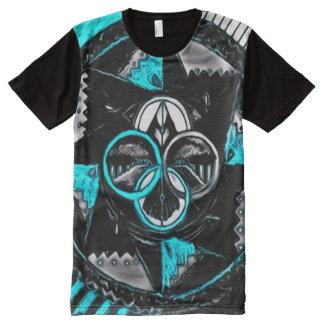 Colorful Dark Center Mandala Indie Watercolor Art All-Over Print T-Shirt