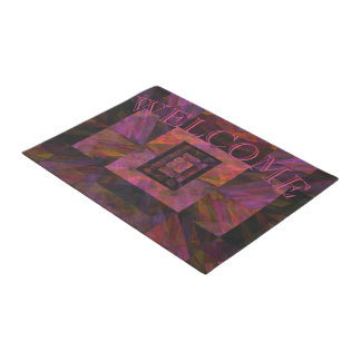 Colorful Dark Galaxy Of Blocks Artwork Doormat