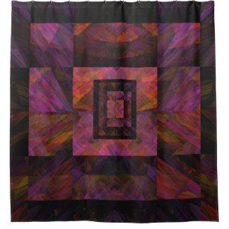 Colorful Dark Galaxy Of Blocks Artwork Shower Curtain
