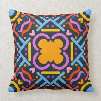 Colorful Dark Geometric Pattern Throw Pillow
