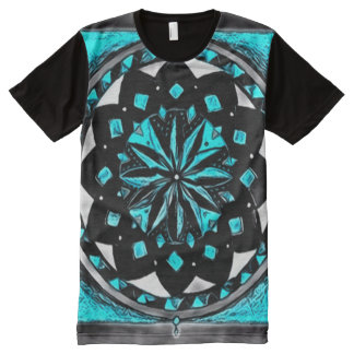 Colorful Dark Medicine Wheel Mandala Art All-Over Print T-Shirt