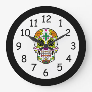 Colorful Day of the Dead Grunge Sugar Skull Wall Clock