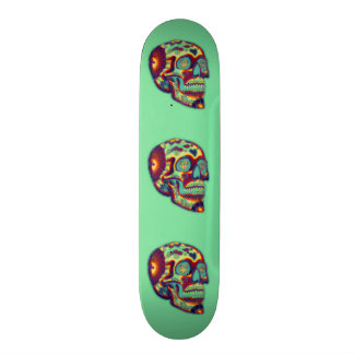 Colorful Decorated Skull On Green 21.6 Cm Skateboard Deck