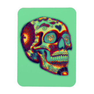 Colorful Decorated Skull On Green Magnet